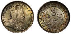 World Coins - Hong Kong 5-Cents, 1904.