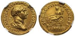 Ancient Coins - Trajan, gold Aureus, Rome mint