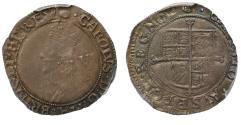 World Coins - Charles I Sixpence mint mark tun graded AU55