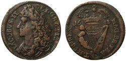 World Coins - Ireland, James II 1688 Halfpenny