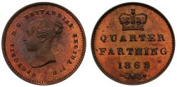 World Coins - Victoria 1868 copper proof Quarter-Farthing - not bronzed