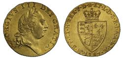 World Coins - George III 1787 Guinea, fifth bust, spade type reverse