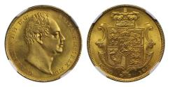 Ancient Coins - William IV 1831 Sovereign,WW no stops MS65