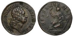 World Coins - Ireland, George I William Wood's coinage, 1723 copper Farthing, type III