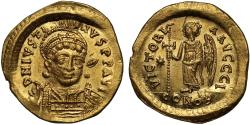 Justin I gold Solidus, Constantinople