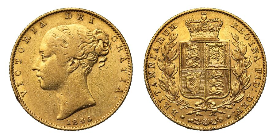 World Coins - Victoria 1846 Sovereign, 4 over inverted 4 in date