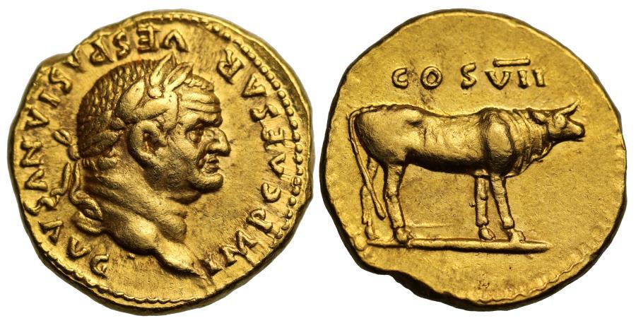 Ancient Coins - Vespasian, Gold Aureus. Mint of Rome