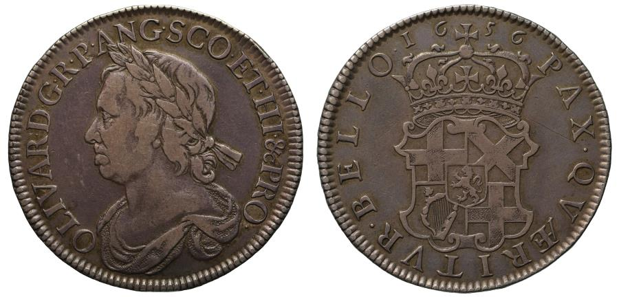 World Coins - Oliver Cromwell 1656 Halfcrown