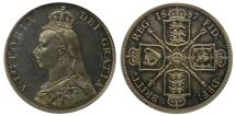 World Coins - Victoria 1887 proof Florin CGS UNC82