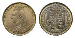 World Coins - Victoria 1892 Shilling, large Jubilee bust
