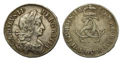 World Coins - Charles II 1680 silver Threepence C srtruck over O in CAROLVS