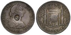 World Coins - George III oval countermark on Mexico 1789 FM 4-Reales, Mexico City
