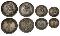 Ancient Coins - George II 1735 Maundy Set, young head of George II
