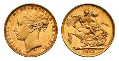 World Coins - Victoria 1873 M Sovereign, raised WW incomplete, St George reverse, long tail