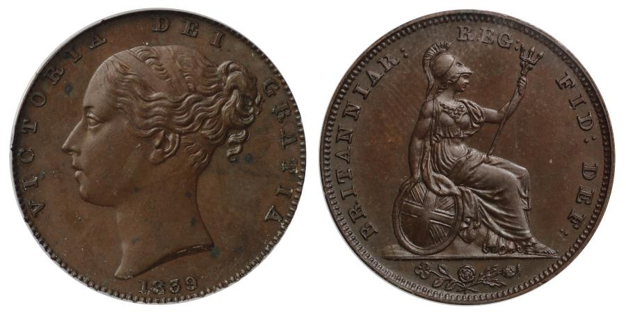 Victoria 1839 proof Farthing