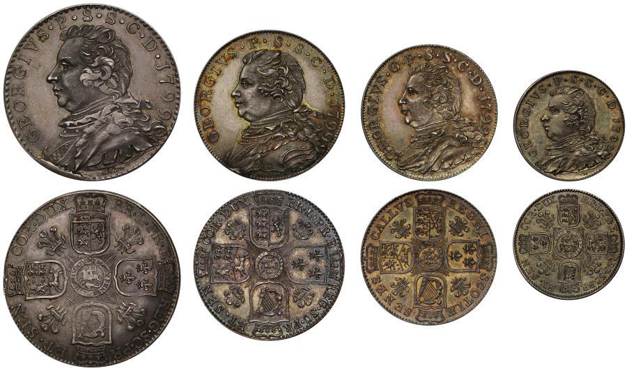 World Coins - Scotland, Ayrshire 1799 pattern silver Token Set struck  for Colonel Fullarton