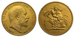 World Coins - Edward VII 1902 gold Five-Pounds, impaired Matt Proof