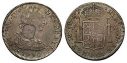 World Coins - George III ocatagonal countermarked 8 Reales 1790, Lima Peru