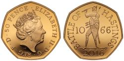 World Coins - Elizabeth II 2016 Gold Proof 50 pence Battle of Hastings
