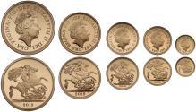 World Coins - Elizabeth II 2019 5-coins gold proof Set
