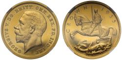 World Coins - George V 1935 Jubilee Crown struck in gold, with original Royal Mint letters