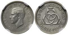 World Coins - Edward VIII 1937 matt proof Threepence PF62, unique as matt finish