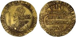 World Coins - Charles I 1643 gold Unite Oxford Mint, die combination VIII/12