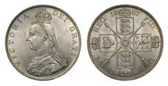 World Coins - Victoria 1887 Double Florin, Roman style I in date