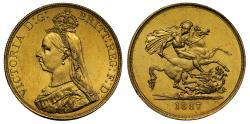 World Coins - Victoria 1887 gold Five-Pounds
