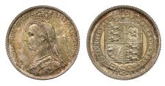 World Coins - Victoria 1887 Sixpence, Jubilee type, withdrawn reverse