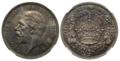 World Coins - George V 1934 Wreath Crown MS62, only 932 pieces struck