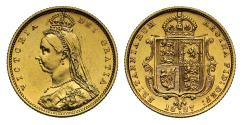 World Coins - Victoria 1887 Jubilee head Half-Sovereign Melbourne DISH M505 hooked J R4