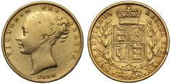 World Coins - Victoria 1858 Sovereign GRATIA unbarred As, very rare