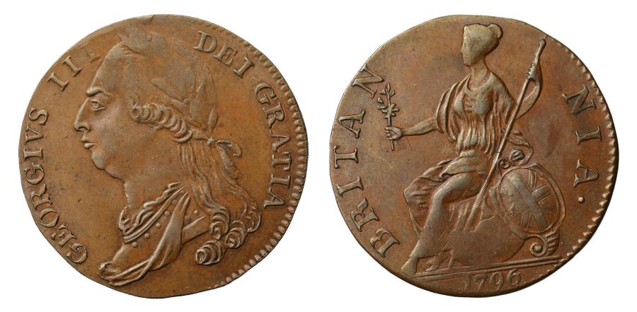 World Coins - George III 1796 Pattern Halfpenny Extremely Rare