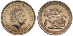 World Coins - Elizabeth II 2017 Five-Pounds MS70 DEEP PROOF LIKE