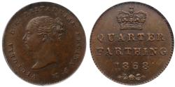 World Coins - Victoria 1868 bronzed copper Proof Quarter-Farthing