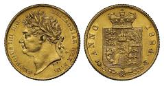 World Coins - George IV 1824 Half-Sovereign, scarce date for denomination