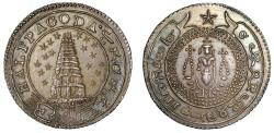 World Coins - Madras Presidency. Silver ½-Pagoda.