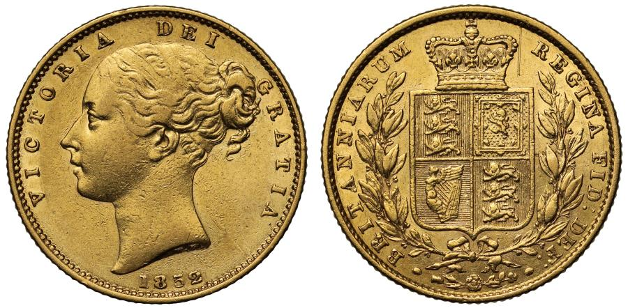 World Coins - Victoria 1852 Sovereign, shield reverse
