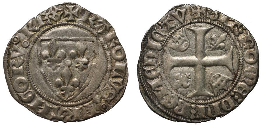 World Coins - France, Charles VI Blanc Guenar