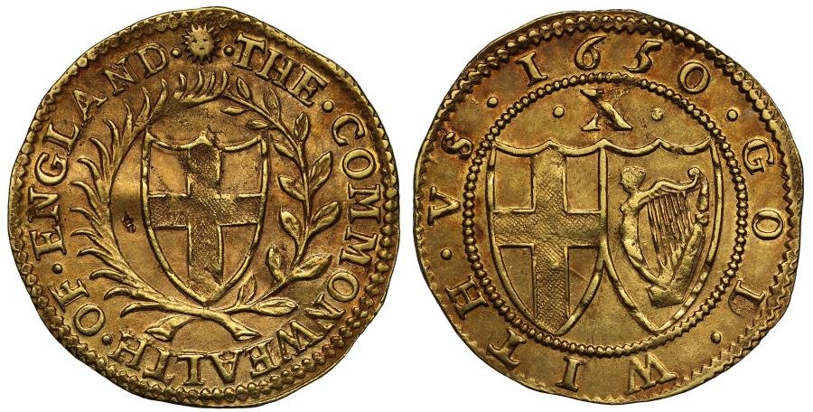 World Coins - Commonwealth 1650 gold Double Crown initial mark sun