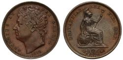 World Coins - George IV 1828 bronzed-copper proof Half-Farthing