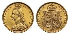 World Coins - Victoria 1887 Jubilee head Half-Sovereign Melbourne DISH M506 hooked J R4