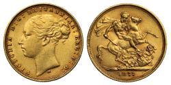 World Coins - Victoria 1877 M Sovereign, St George reverse