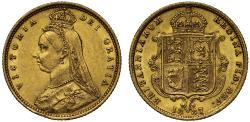 World Coins - Victoria 1887 Half-Sovereign, Jubilee London, no JEB on plain truncation AU58