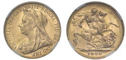 Ancient Coins - Victoria 1900 Melbourne Sovereign, old head, graded MS62