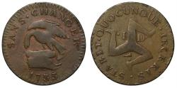 World Coins - Isle of Man, James Stanley, 1733 copper Penny