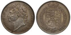 World Coins - George IV 1825 Shilling, first laureate head, second reverse