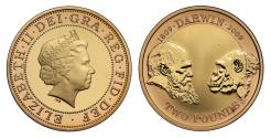 World Coins - Elizabeth II 2009 Charles Darwin £2 gold proof