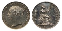 World Coins - Victoria 1839 proof Groat milled edge CGS 78